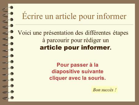 Assez Ecrire un article de presse - ppt video online télécharger AL84