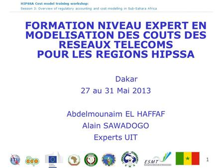 HIPSSA Cost model training workshop: Session 3: Overview of regulatory accounting and cost modelling in Sub-Sahara Africa 1 FORMATION NIVEAU EXPERT EN.