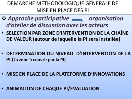 DEMARCHE METHODOLOGIQUE GENERALE DE MISE EN PLACE DES PI Approche participative organisation datelier de discussion avec les acteurs SELECTION PAR ZONE.