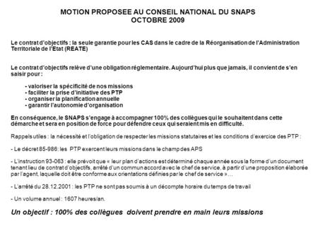 MOTION PROPOSEE AU CONSEIL NATIONAL DU SNAPS