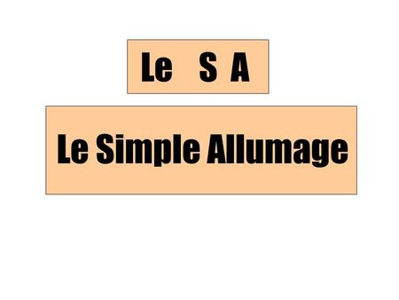 Le Simple Allumage Le S A. Le Simple Allumage: Description Un interrupteur Un luminaire.