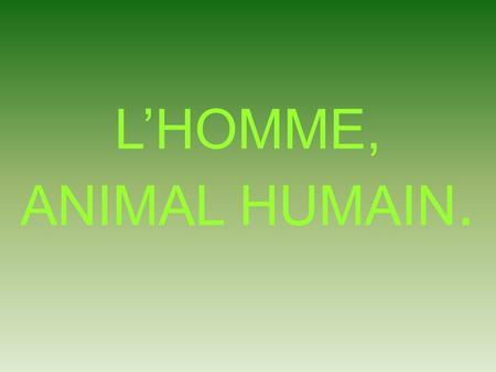 L'HOMME, ANIMAL HUMAIN..