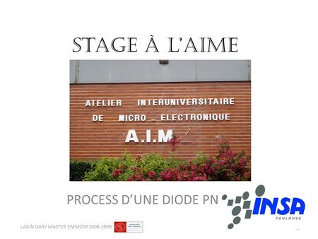 Stage à laime PROCESS DUNE DIODE PN 1 LAGIN GARY MASTER EMMOM 2008-2009.