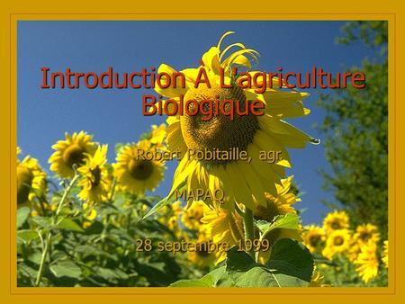 Introduction À L'agriculture Biologique