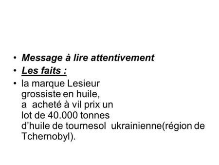 Message à lire attentivement