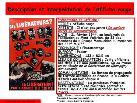 Description et interprétation de l'Affiche rouge