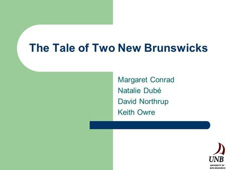 The Tale of Two New Brunswicks Margaret Conrad Natalie Dubé David Northrup Keith Owre.