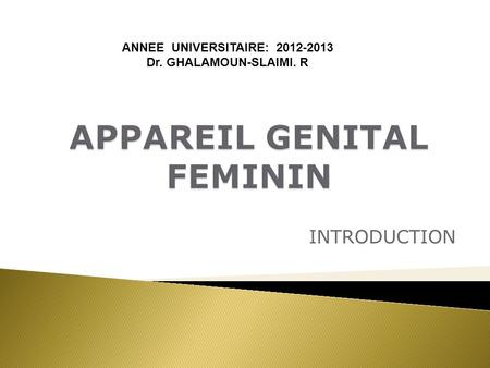 INTRODUCTION ANNEE UNIVERSITAIRE: 2012-2013 Dr. GHALAMOUN-SLAIMI. R.