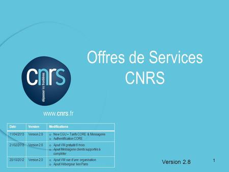Offres de Services CNRS Version 2.8 DateVersionModifications 11/04/2013Version 2.8 o New CGU + Tarifs CORE & Messagerie o Authentification CORE 21/02/2013Version.
