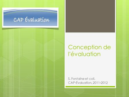 Conception de l'évaluation