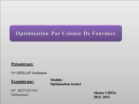 Optimisation Par Colonie De Fourmies