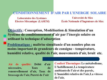 CONDITIONNEMENT D'AIR PAR L'ENERGIE SOLAIRE