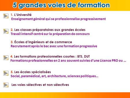 5 grandes voies de formation 5 grandes voies de formation