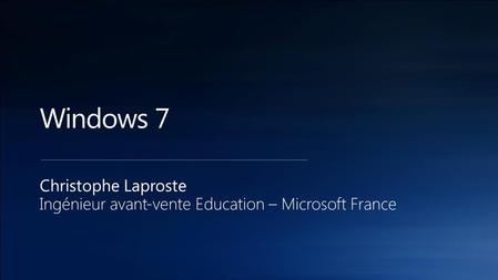 Christophe Laproste Ingénieur avant-vente Education – Microsoft France