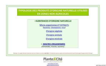 Substances d'origine naturelle