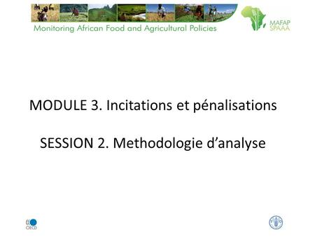 MODULE 3. Incitations et pénalisations SESSION 2. Methodologie danalyse.