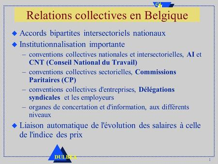 1 DULBEA Relations collectives en Belgique u Accords bipartites intersectoriels nationaux u Institutionnalisation importante –conventions collectives nationales.