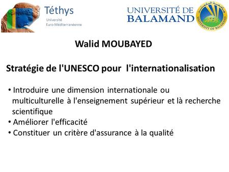Téthys Université Euro-Méditerranéenne Walid MOUBAYED Stratégie de l'UNESCO pour l'internationalisation Introduire une dimension internationale ou multiculturelle.