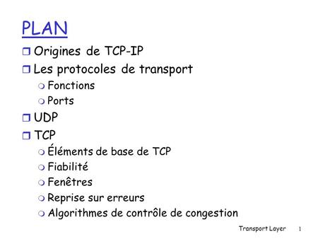 PLAN Origines de TCP-IP Les protocoles de transport UDP TCP Fonctions