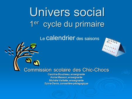 Univers social 1er cycle du primaire