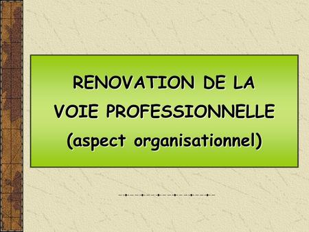 RENOVATION DE LA VOIE PROFESSIONNELLE (aspect organisationnel) RENOVATION DE LA VOIE PROFESSIONNELLE (aspect organisationnel)