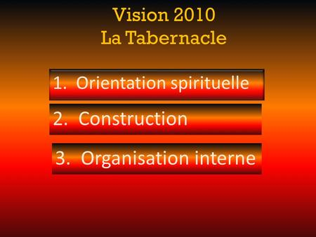 Vision 2010 La Tabernacle 3. Organisation interne 1. Orientation spirituelle 2. Construction.