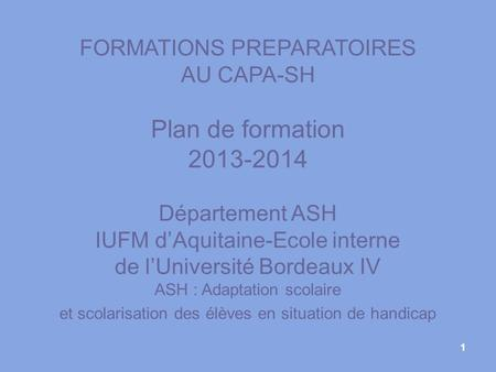 Plan de formation FORMATIONS PREPARATOIRES AU CAPA-SH