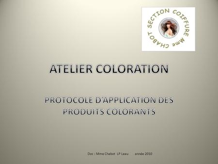 PROTOCOLE D'APPLICATION DES PRODUITS COLORANTS
