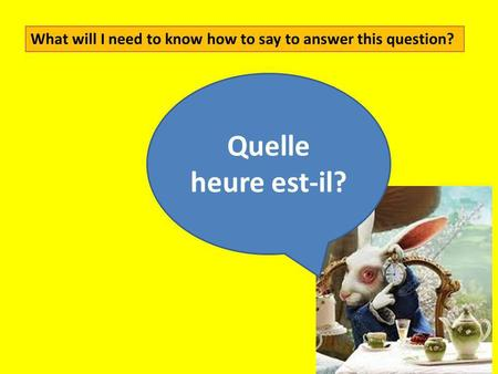 Quelle heure est-il? What will I need to know how to say to answer this question?