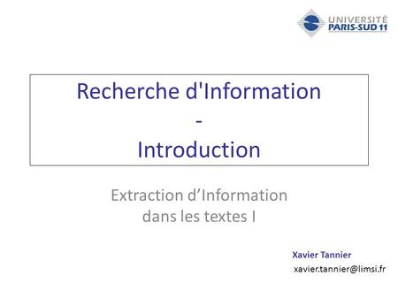 Recherche d'Information - Introduction