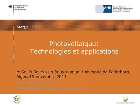 Photovoltaïque: Technologies et applications