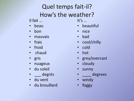 Quel temps fait-il? How's the weather?