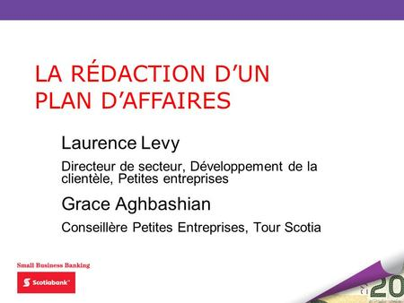 LA RÉDACTION D'UN PLAN D'AFFAIRES