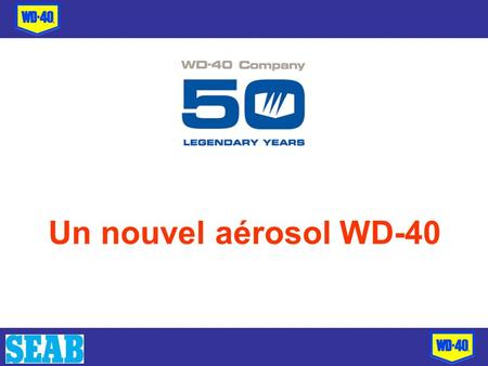 Un nouvel aérosol WD-40. Une marque leader en Grande- Bretagne million80% le connaissent = 38 million adultes 65% lutilisent = 31million adultes 56% le.