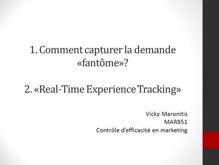 Vicky Maronitis MAR851 Contrôle d'efficacité en marketing