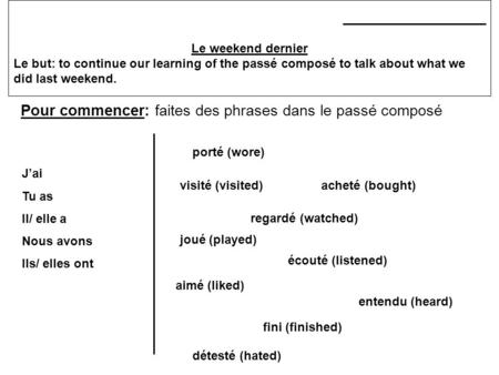 _____________________ Le weekend dernier Le but: to continue our learning of the passé composé to talk about what we did last weekend. Pour commencer: