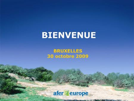 BRUXELLES 30 octobre 2009 BIENVENUE Afer Europe.