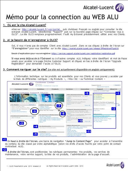 All Rights Reserved © Alcatel-Lucent 2006 - 2010 1 | OLCS Presentation June 2010 release 2.0 Mémo pour la connection au WEB ALU 1. Où est le site Alcatel-Lucent?