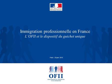 Immigration professionnelle en France L'OFII et le dispositif du guichet unique Paris – 25 juin 2013.