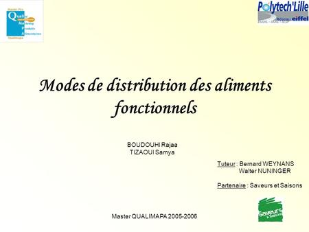 Modes de distribution des aliments fonctionnels