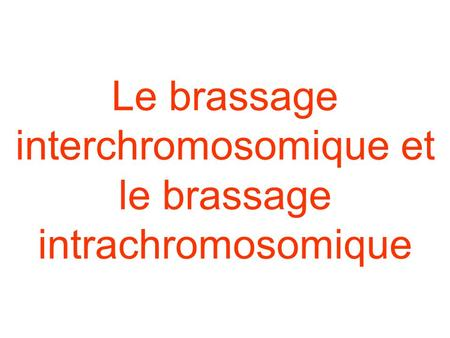 Le brassage interchromosomique et le brassage intrachromosomique