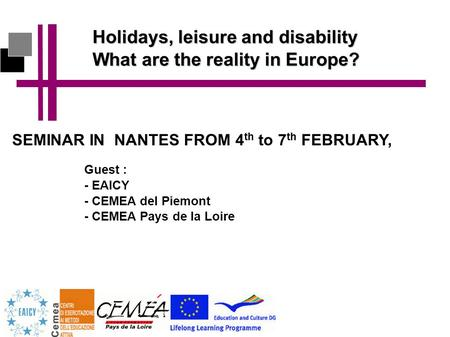 Holidays, leisure and disability What are the reality in Europe? SEMINAR IN NANTES FROM 4 th to 7 th FEBRUARY, Guest : - EAICY - CEMEA del Piemont - CEMEA.