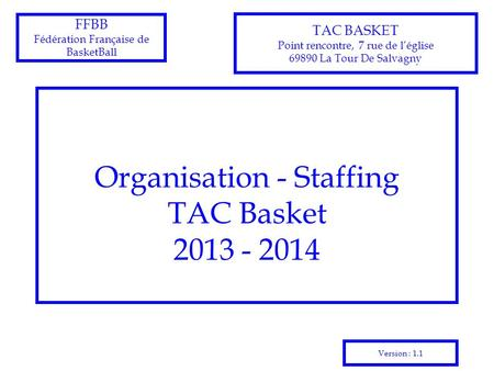 Organisation - Staffing TAC Basket