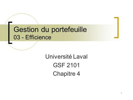 Gestion du portefeuille 03 - Efficience