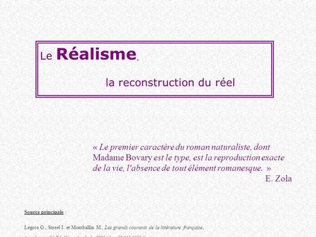 la reconstruction du réel