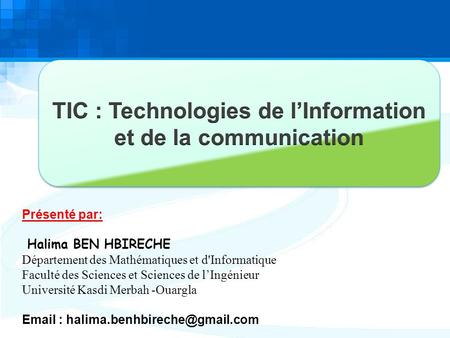 TIC : Technologies de l'Information et de la communication