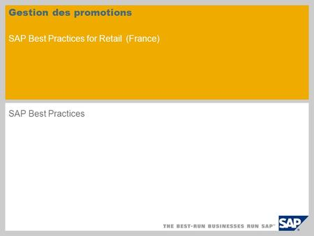 Gestion des promotions SAP Best Practices for Retail (France)