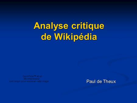 Analyse critique de Wikipédia