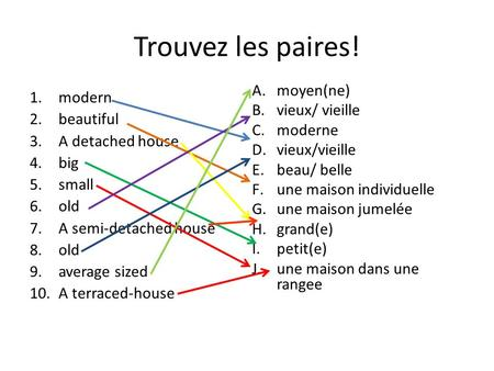 Trouvez les paires! 1.modern 2.beautiful 3.A detached house 4.big 5.small 6.old 7.A semi-detached house 8.old 9.average sized 10.A terraced-house A.moyen(ne)
