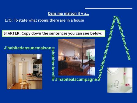 _____________________ Dans ma maison il y a… L/O: To state what rooms there are in a house STARTER: Copy down the sentences you can see below: Jhabitedansunemaison.